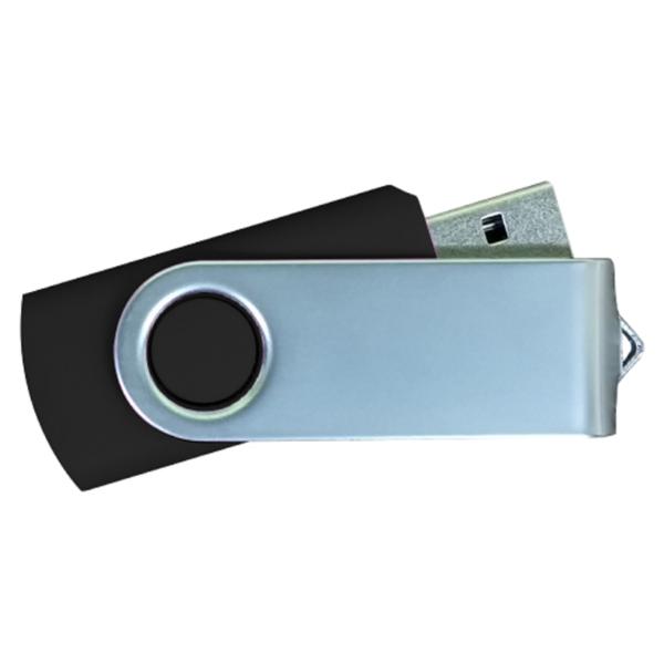 USB Flash Drives Matt Silver Swivel - Black
