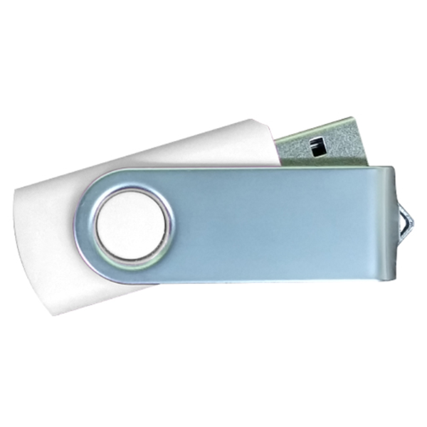 USB Flash Drives Matt Silver Swivel - White