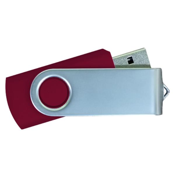 USB Flash Drives Matt Silver Swivel - Maroon