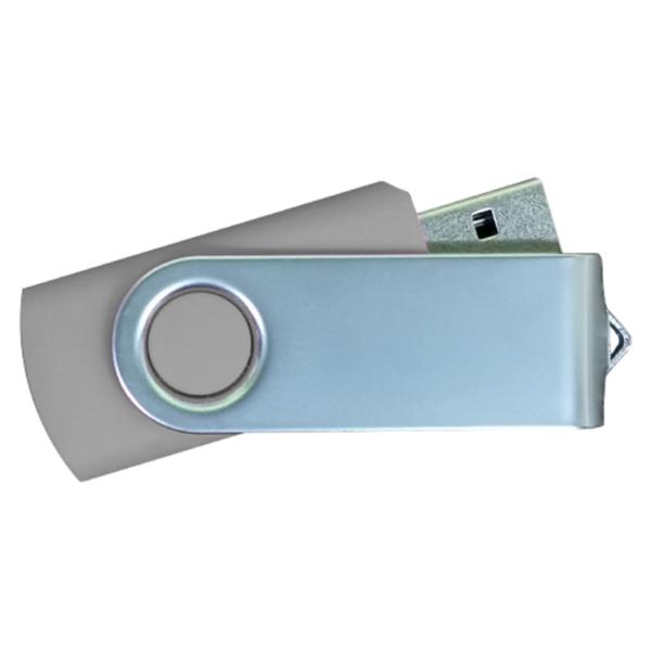 USB Flash Drives Matt Silver Swivel - Grey