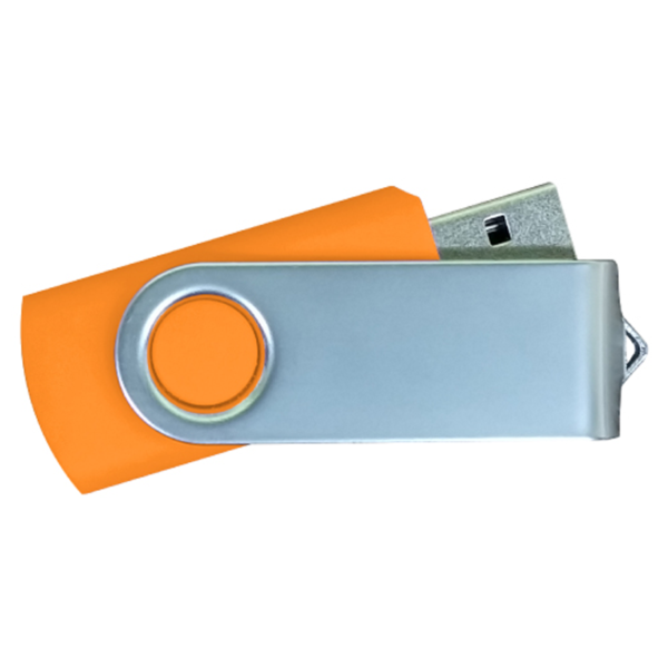 USB Flash Drives Matt Silver Swivel - Orange