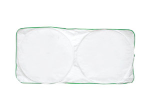 Car Sun Shade - White with Green Border