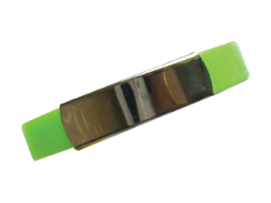 Silicone Wristband with Metal Part Green