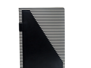 A5 Notebook, Black Strips with Black Pocket, 192 Pages