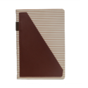 A5 Notebook, Brown Strips with Brown Pocket, 192 Pages