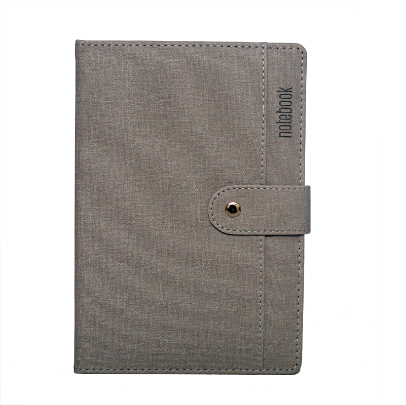 A5 Notebook, Professional Notebook Grey with Button Closure, 192 Pages