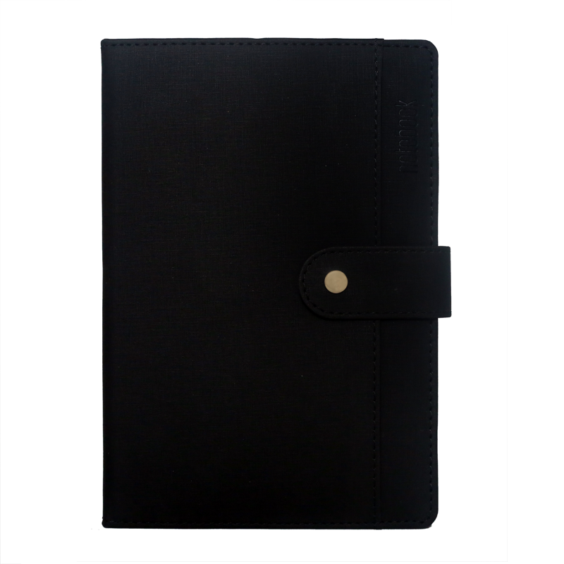 A5 Notebook, Professional Notebook Black with Button Closure, 192 Pages