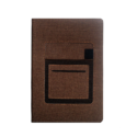A5 Notebook, Professional Notebook Brown with Mobile Pocket, 192 Pages