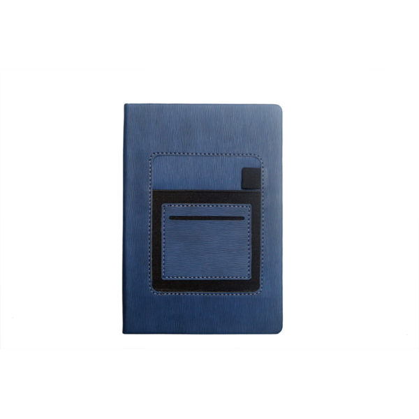 A5 Notebook, Professional Notebook Dark Blue with Mobile Pocket, 192 Pages