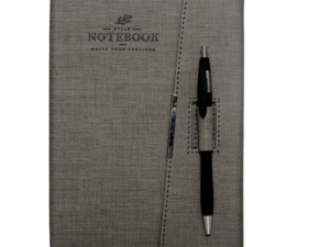 A5 Notebook, Professional Notebook Brown with Closure and Pen Holder, 192 Pages